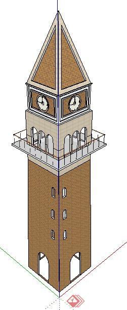 简欧风格尖顶钟楼设计su模型(2)