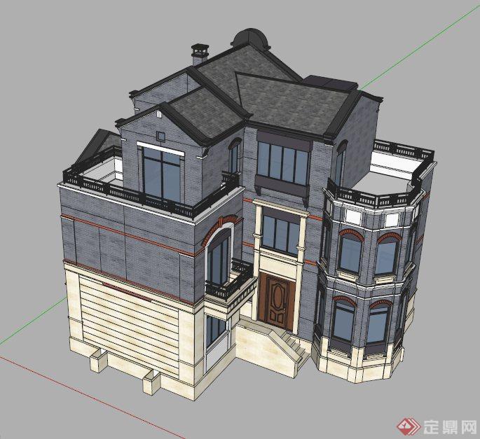 欧式三层别墅建筑设计su模型