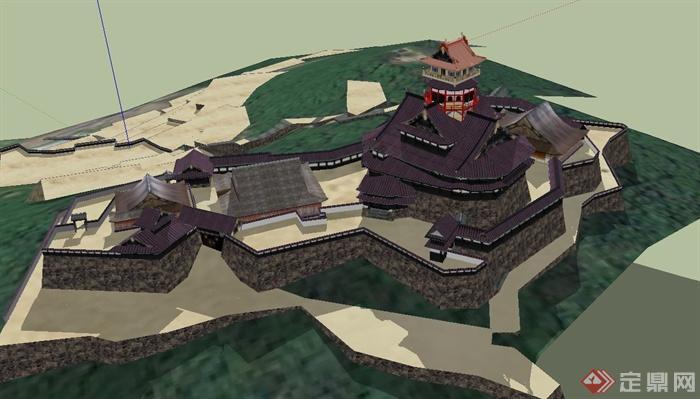 某古典中式综合寺庙建筑设计su模型图片