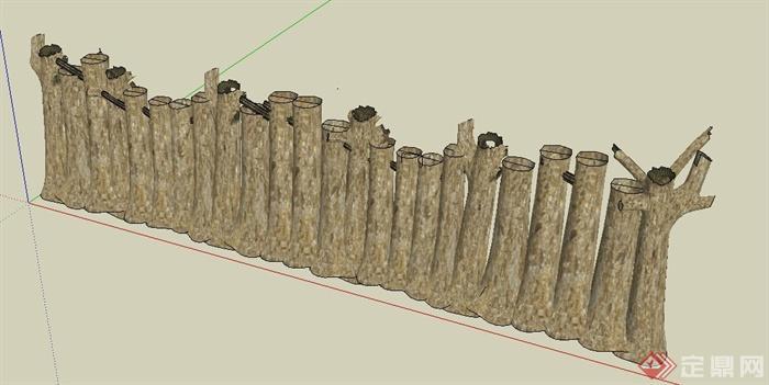 园林景观木桩状围墙设计su模型