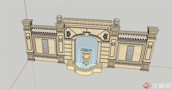 园林景观节点景墙喷泉水景设计su模型(2)