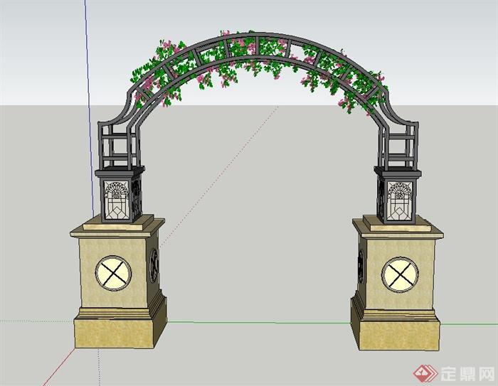 园林景观节点欧式门廊设计su模型