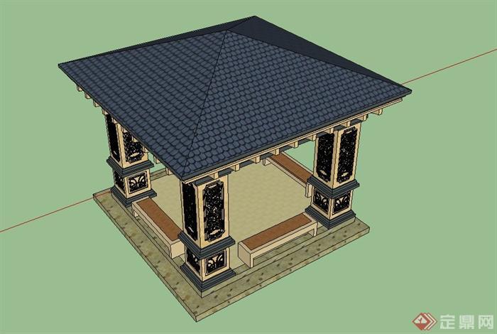 某欧式风格四角景观亭设计su模型