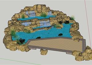 园林景观节点水景与景石组合设计SU(草图大师)模型