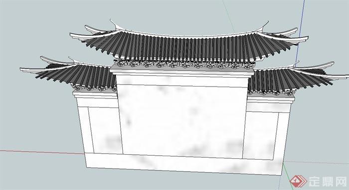 某古典中式风格带屋檐景墙设计su模型(2)图片