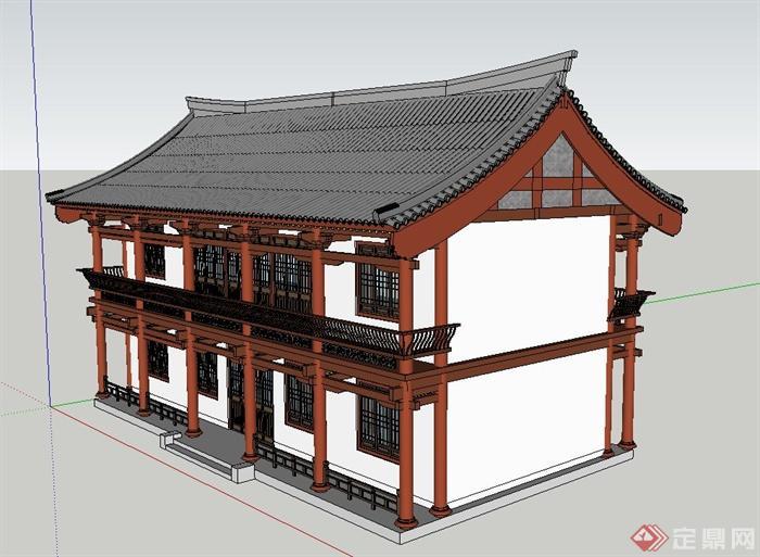 古典中式风格两层茶楼建筑设计su模型
