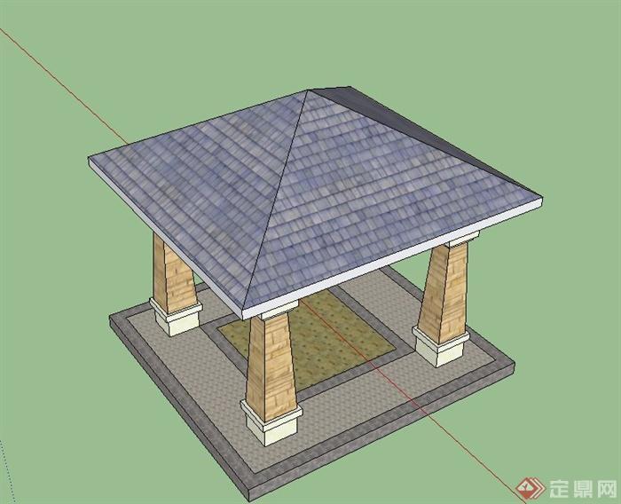 某欧式风格景观节点四角亭设计su模型
