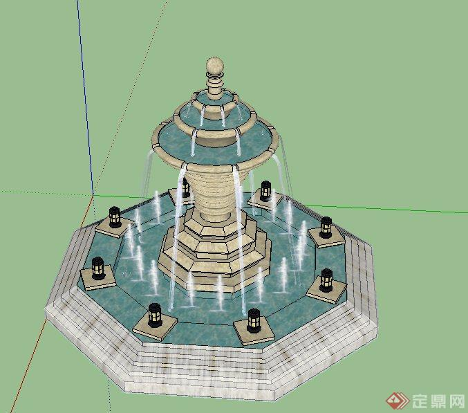 园林景观节点圆形喷泉水景设计su模型(2)