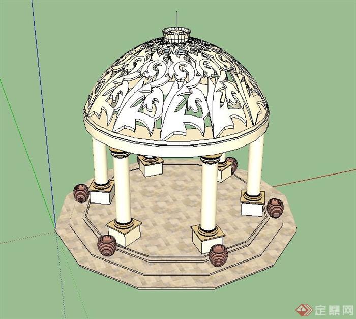 园林景观欧式风格圆形亭子设计su模型