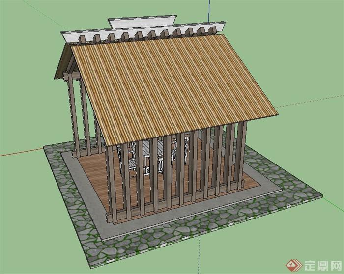 某坡屋顶木质凉亭设计su模型