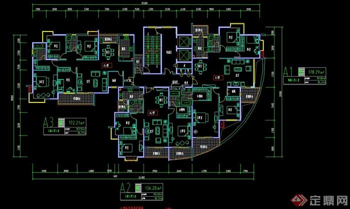 某住宅空间大户型室内设计CAD图