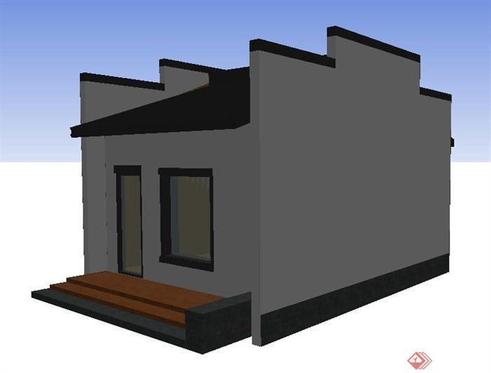 徽派中式风格门卫室建筑设计su模型(2)图片