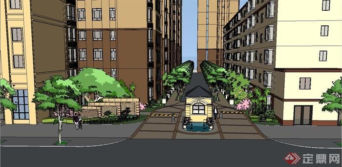 某简欧风格住宅入口景观设计su模型[原创]