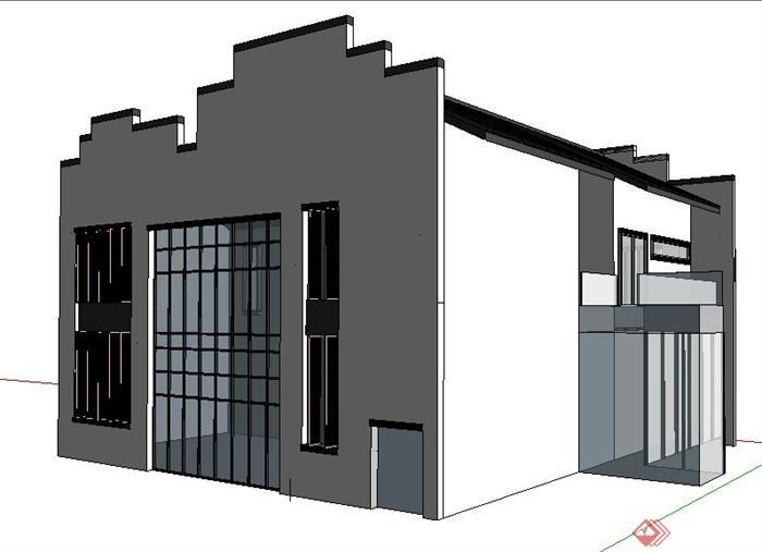 徽派中式风格别墅建筑设计su模型(2)图片