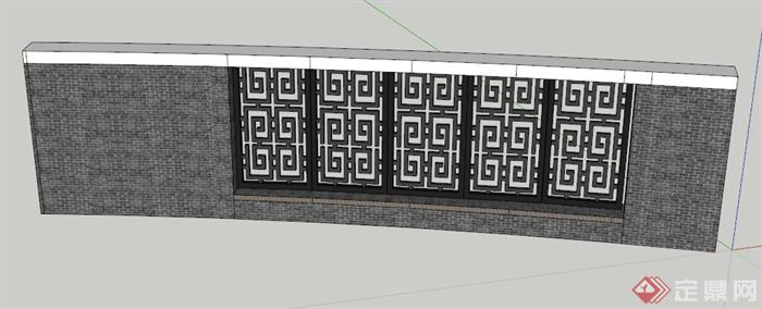 中式圍墻景墻景觀設計su模型,造型簡潔,風格突出,模型制作精細,具有