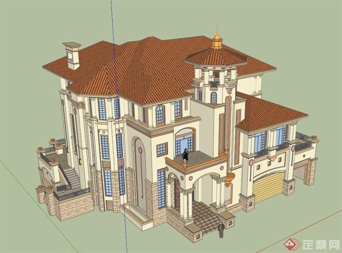 豪華歐式別墅建筑設計su模型