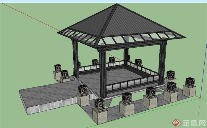 现代简约中式风格凉亭设计su模型(3)