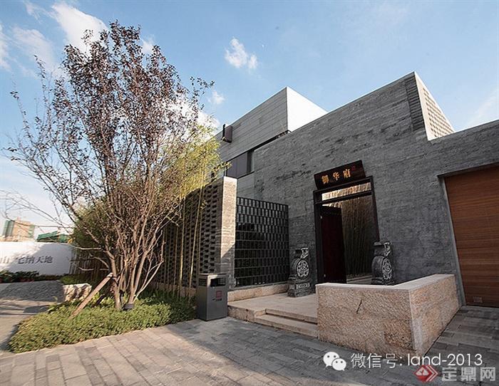 入口景观,大门,青砖墙,矮墙,地面铺装,树池