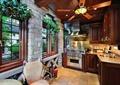 厨房,橱柜,厨具,椅子,窗子,吊灯