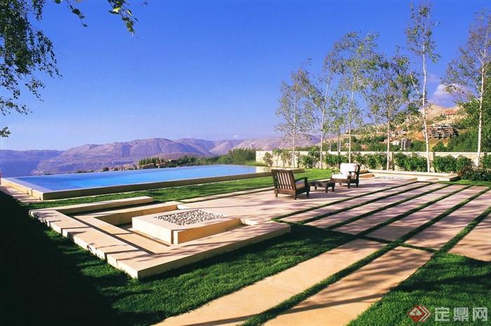 迤逦山庄景观设计-园路地面铺装草坪桌椅花池台阶-师