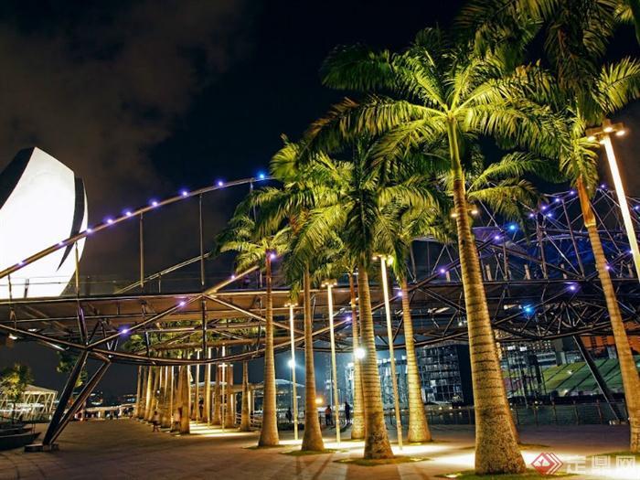 新加坡滨海湾海滨长廊景观-树池乔木廊架地面铺装-师