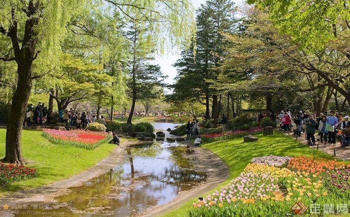 日本昭和纪念公园设计实景图-河流景观草坪景观花田