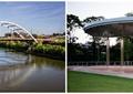 桥梁,河道景观,凉亭