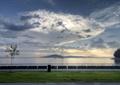草坪,天空,海天一线