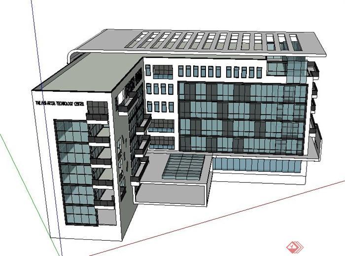 简约新中式艺术中心建筑设计su模型(3)