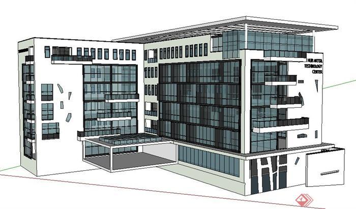 简约新中式艺术中心建筑设计su模型(1)