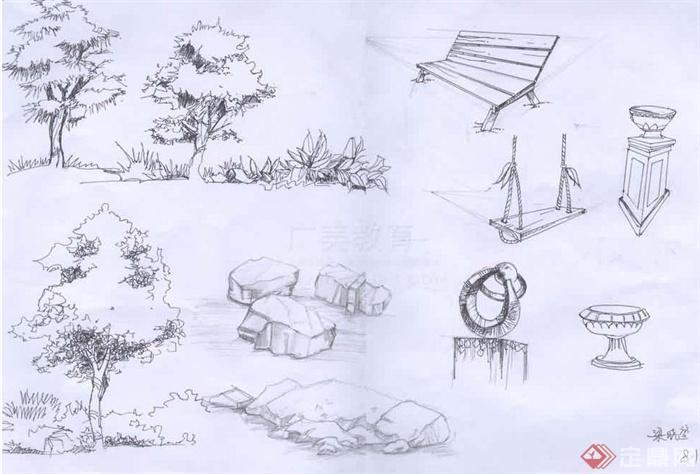 园林手绘效果图设计jpg图