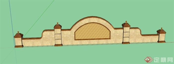 欧式logo景观墙设计su模型