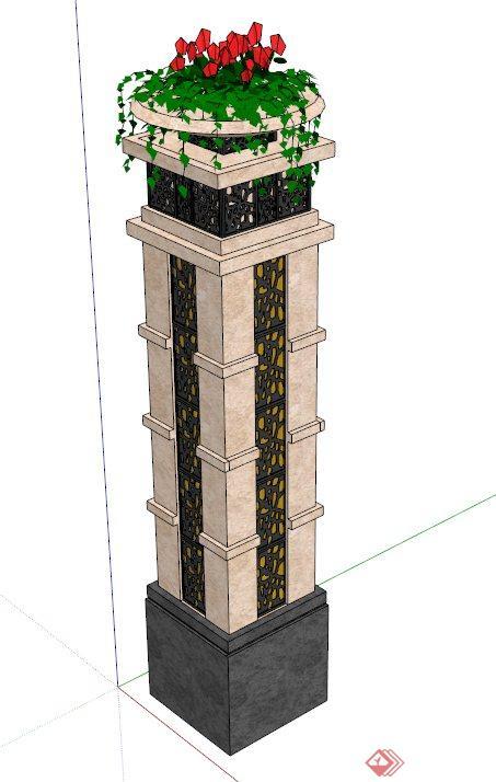 景观花钵灯柱设计su模型