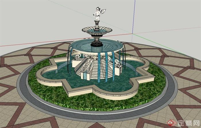 园林景观节点圆形雕塑水景设计su模型