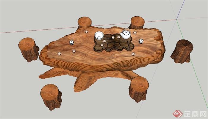 根雕茶桌凳设计su模型