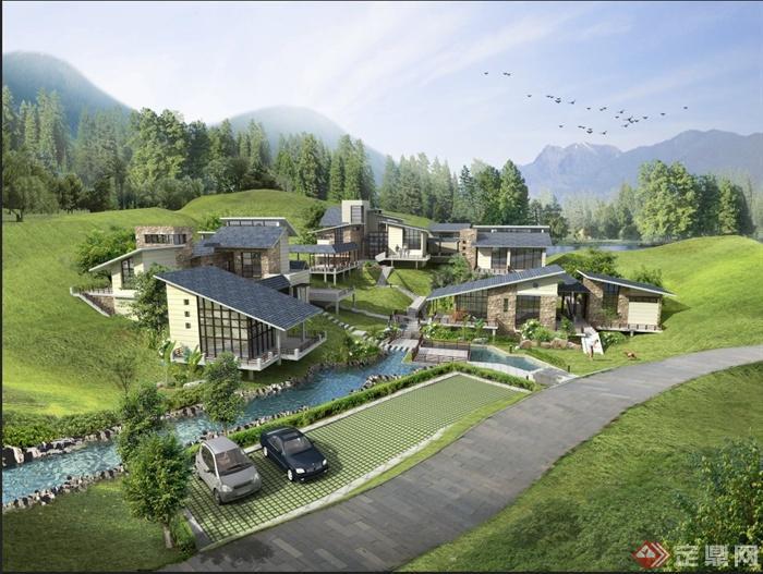现代某多层山体别墅建筑设计PSD效果图