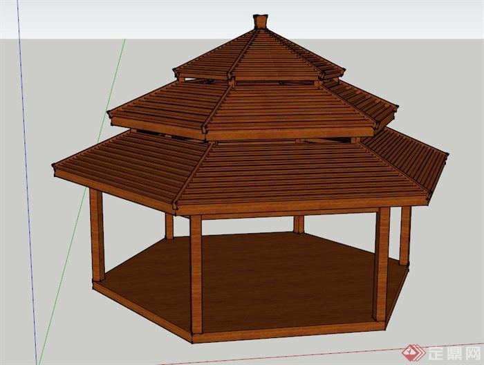 木制三重檐六角亭设计SU模型