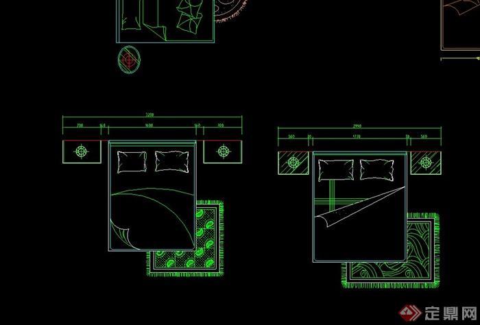 室内装修设计素材平面床设计cad图
