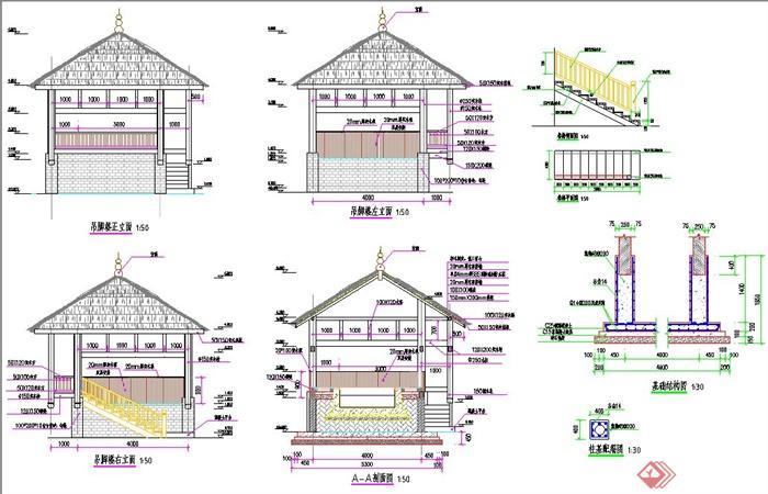 吊脚楼建筑设计CAD施工图(1)