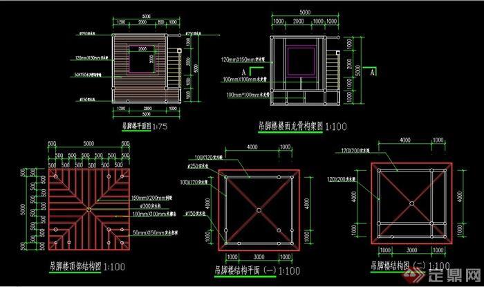 吊脚楼建筑设计CAD施工图(2)