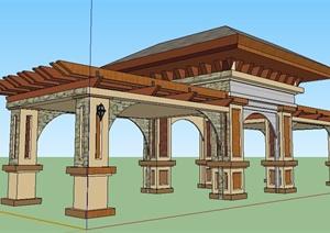 园林景观新古典亭廊组合SU(草图大师)模型