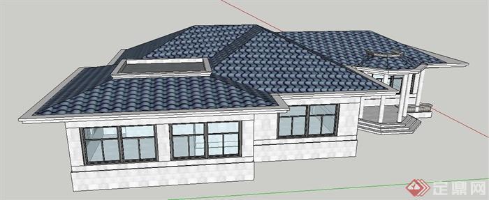 简欧风格单层民居建筑设计su模型