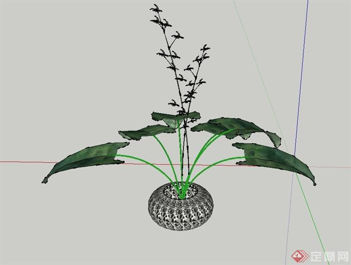 某室内装饰圆形花钵设计su模型