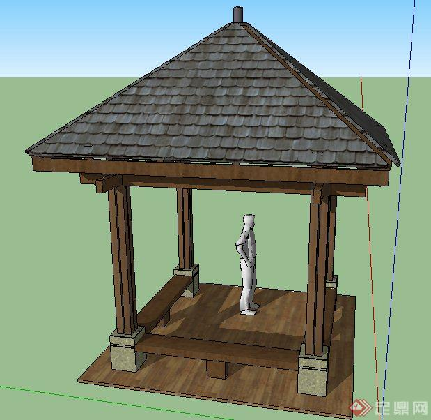 简约中式风格四角凉亭设计su模型图片