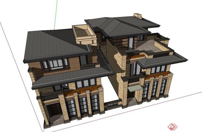 某欧式风格三层联排别墅建筑设计su模型