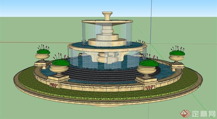 某圆形三台喷泉水景设计su模型(1)图片