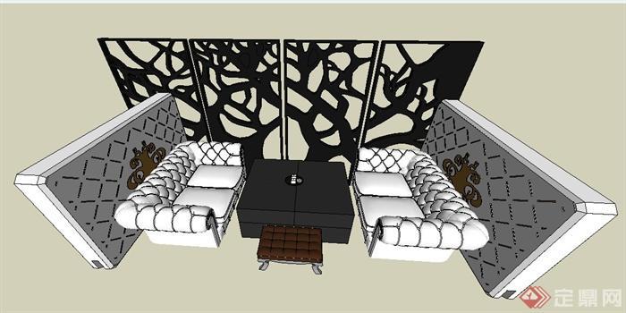 欧式风格咖啡厅沙发茶几su模型