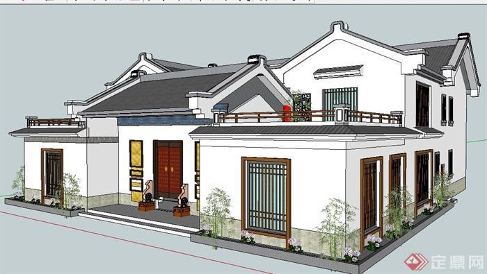 现代中式风格民居别墅建筑设计su模型