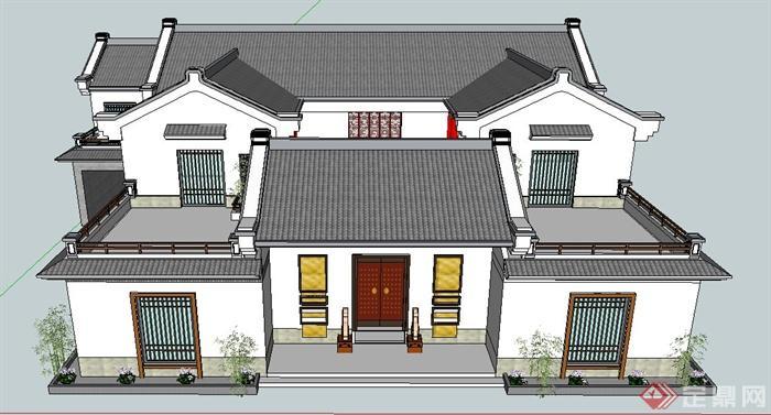 现代中式风格民居别墅建筑设计su模型(4)图片