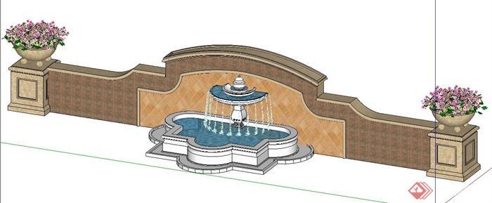 简欧风格景墙及喷泉水景su模型